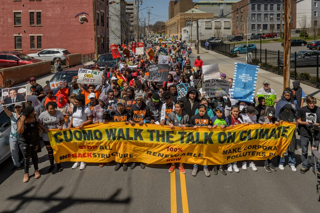 2018: Protestors demand Governor Cuomo commit to 100% renewable energy in Sheridan Hollow.