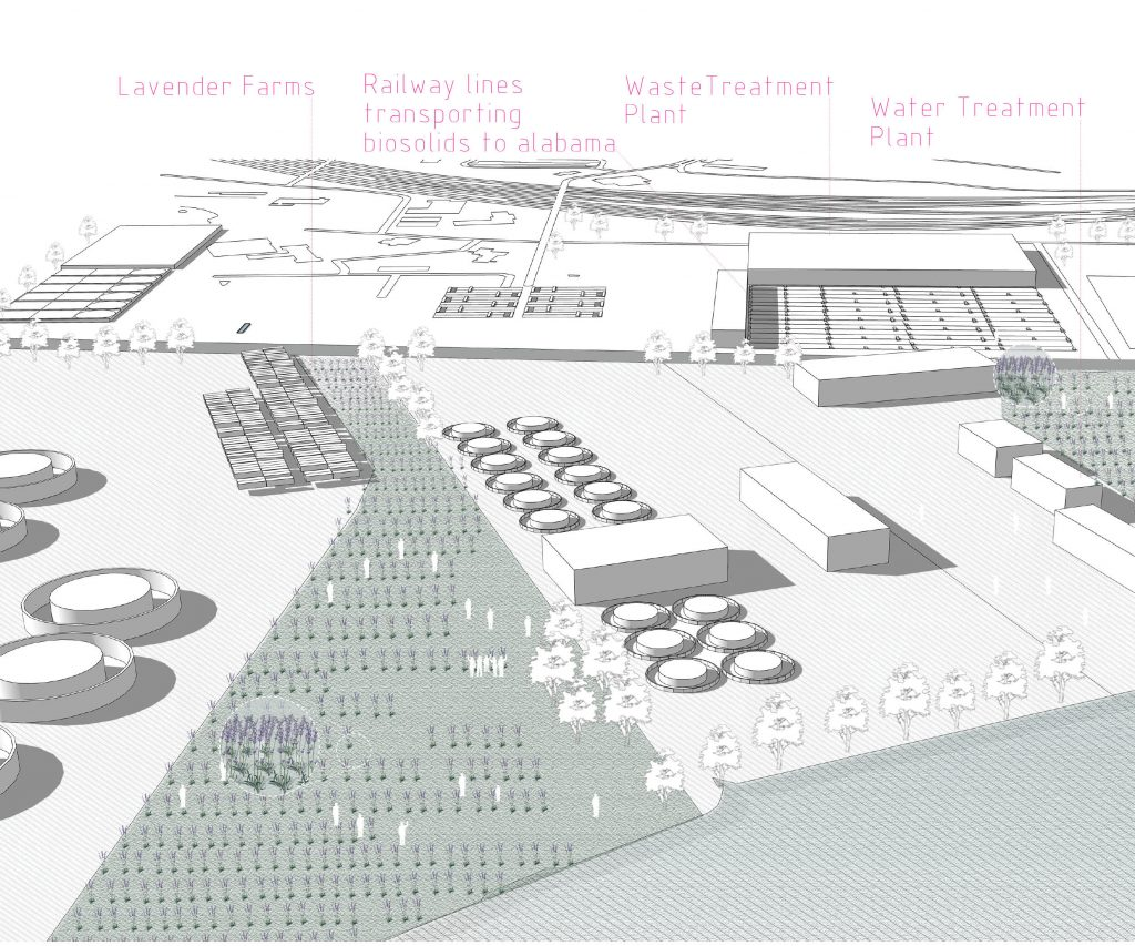 2029: ICC-supported aromatic lavender farm, nurtured by the organic solids produced by a sewage treatment plant.