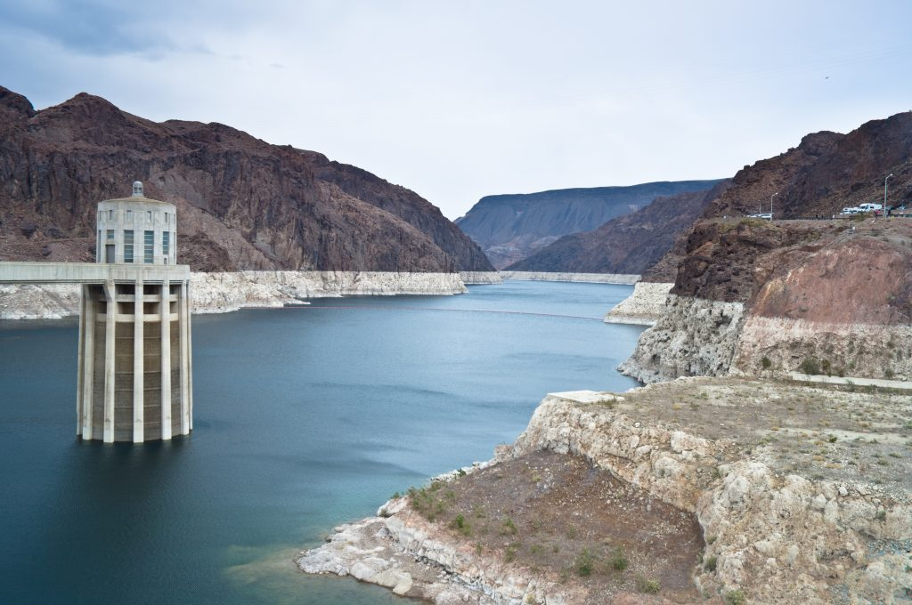 """The """"bathtub ring"""" around Lake Mead illustrates the overuse of the Colorado River."""