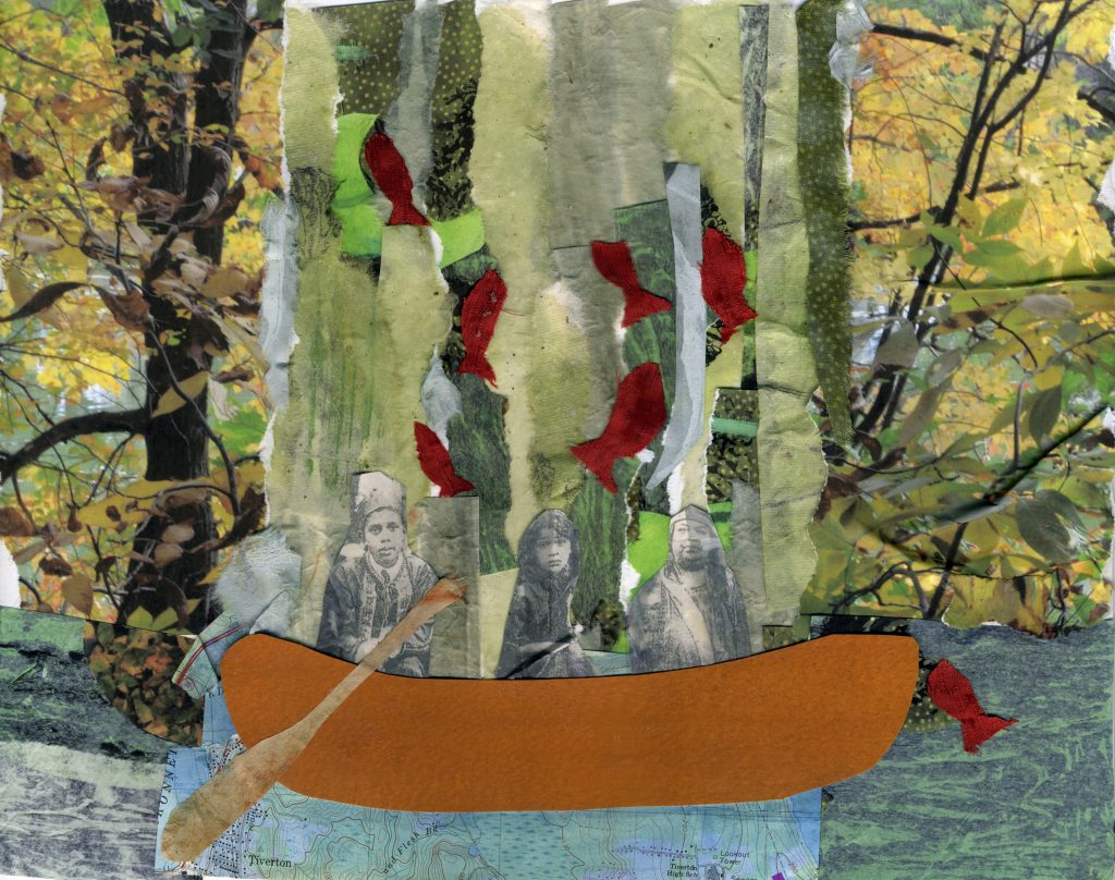 """Salmon Traveling,"" Mashapaug Pond collage by Dawn Dove, Narragansett Elder and artist."