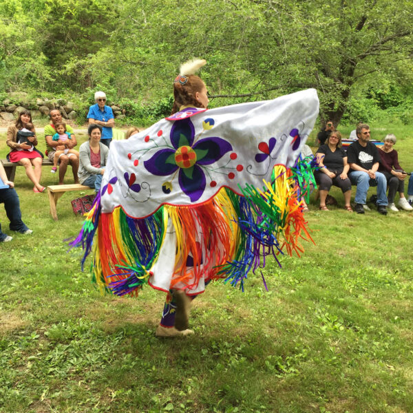 Sherenté Harris, Narragansett youth, Brown University and RISD student, dances in regalia in 2019.