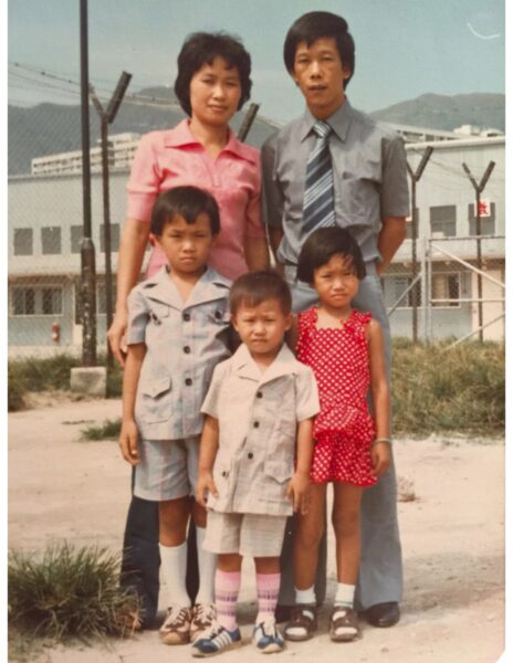Say Tang with her family at the Hong Kong Refugee Camp. She resides in Oxnard, CA.