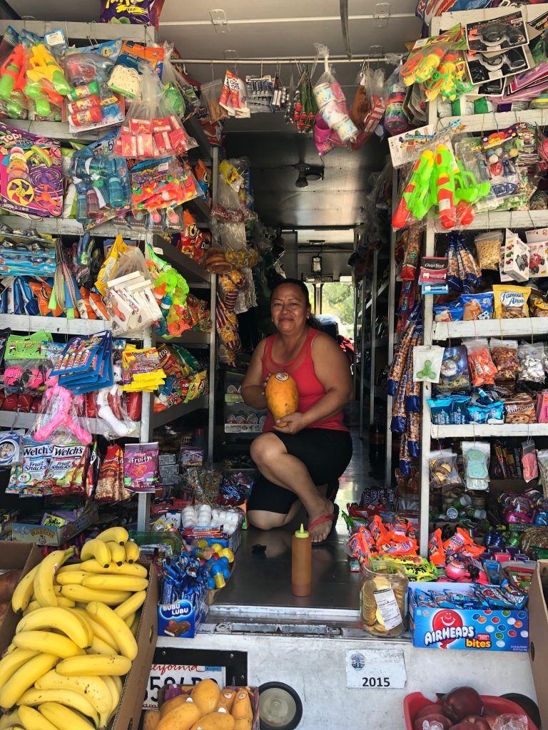 2019: Vendor sells fresh fruits and vegetables in Panorama City