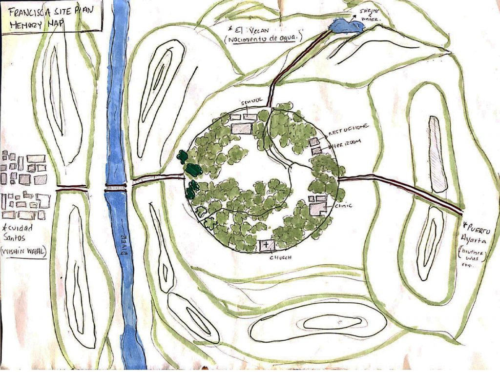 Map from Francisca's description of her town in Mexico; drawing by Sara Alzate.