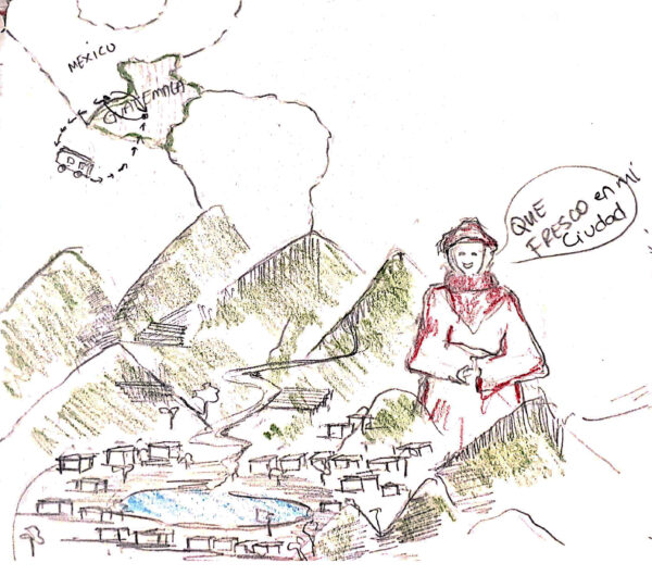 Drawing from Ana's description of her village in Guatemala, by Victoria Gomes.