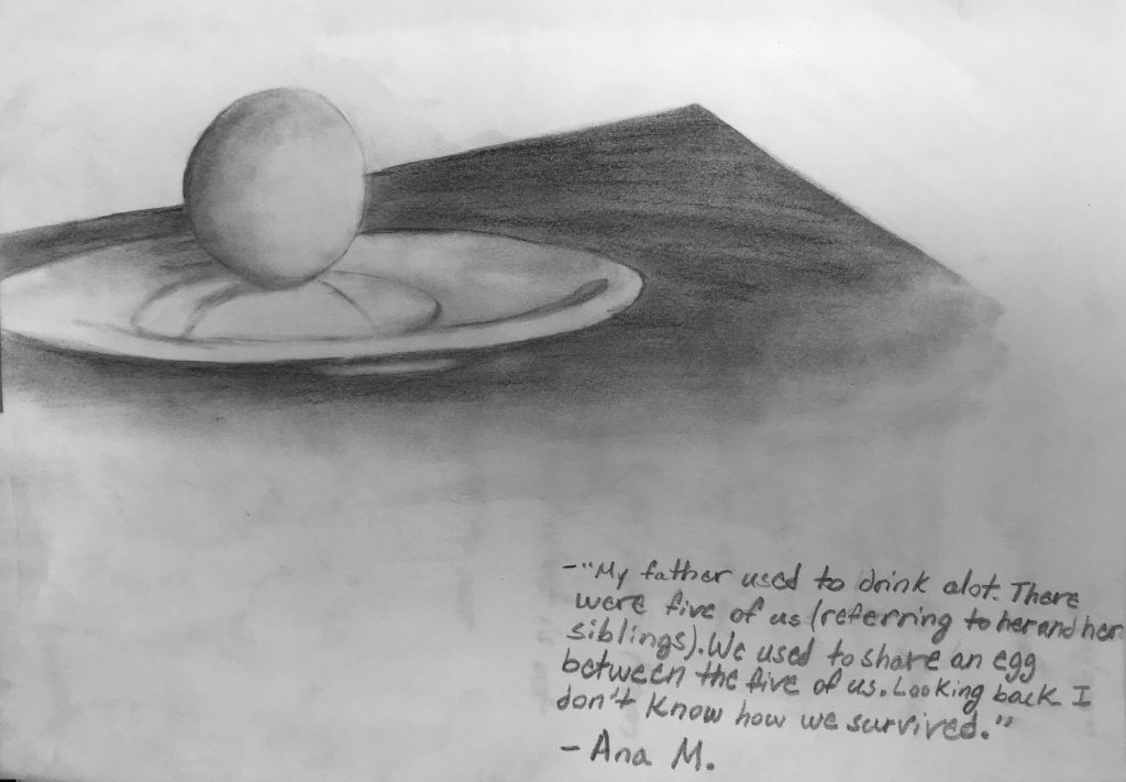 Drawing from one of Ana's memories from her childhood in El Salvador, by Alondra Delgado.