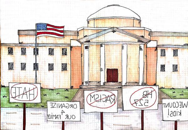 Dibujo elaborado por Sara Alzate a partir de la descripción de Ana de una manifestación en Washington, DC.
