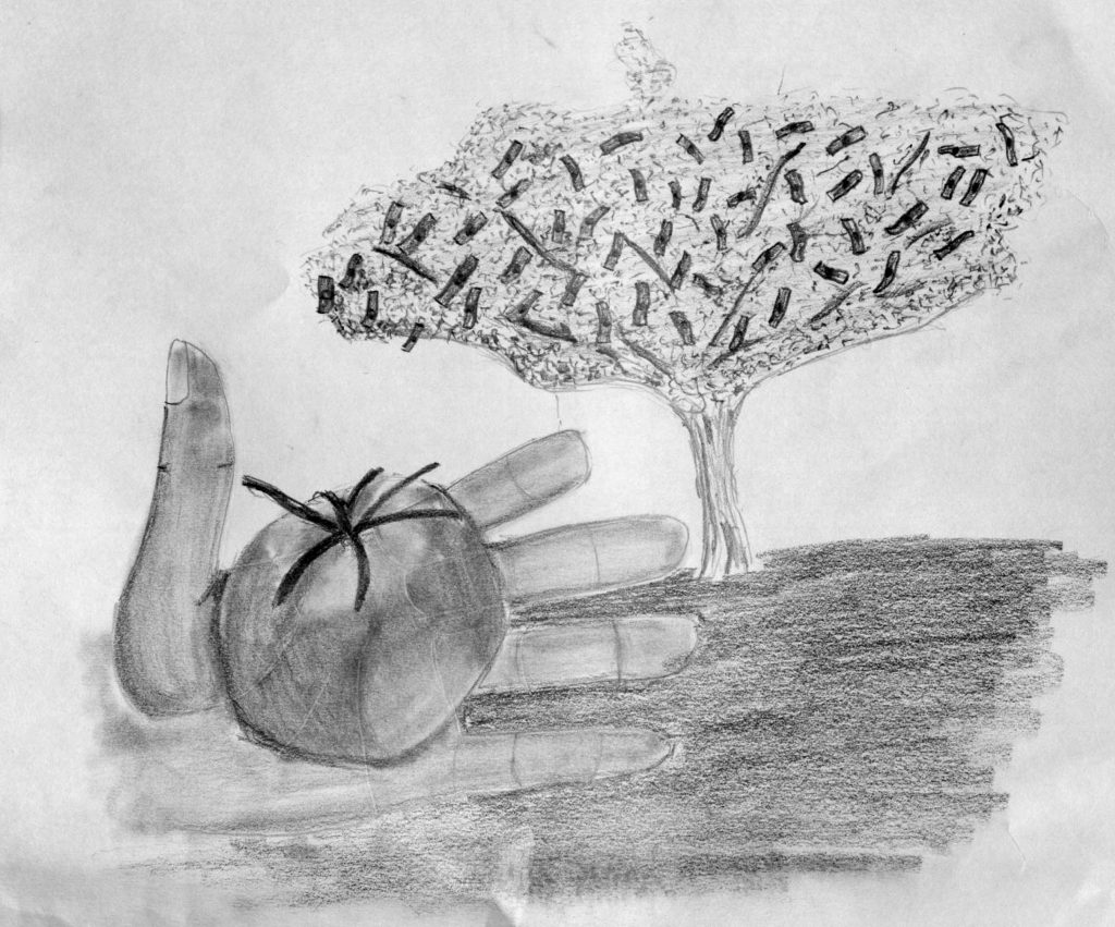 Drawing from Alejandra's description of the dream of America, by Miguel Escotet.