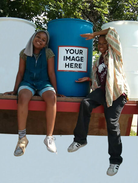2012: Express Yourself rain barrels allow residents affected by pollution to collect fresh water.