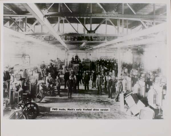 1920: Immigrant workers in New Brunswick truck factory.