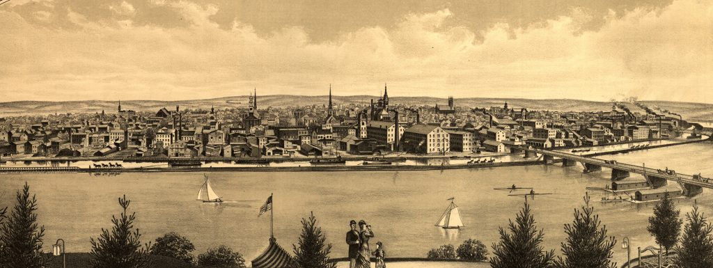 1880: View of New Brunswick featuring industrial riverfront.