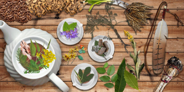 Traditional medicinal plants and natural elements used in ceremonies