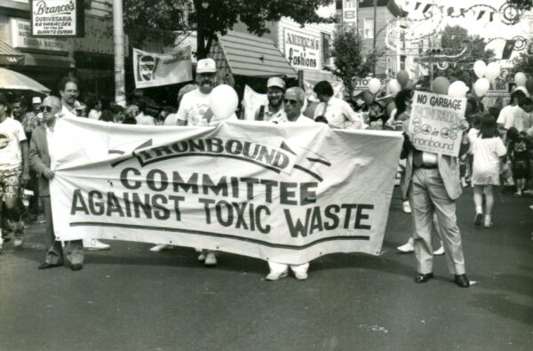 The Ironbound Committee Against Toxic Waste marches against a proposed garbage incinerator (1990).