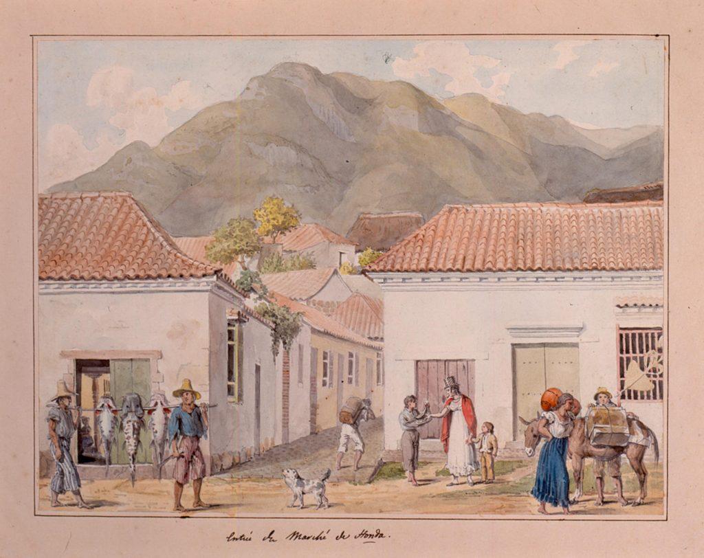 """1823: François Désiré Roulin, 'Entrée du marché de Honda."""""""