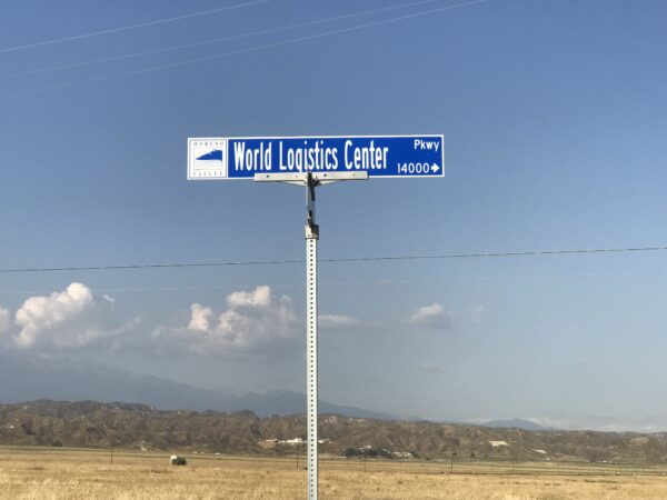Sign for World Logistics Center, erected despite ongoing challenges to the 40-million sq. ft. development, 2019.
