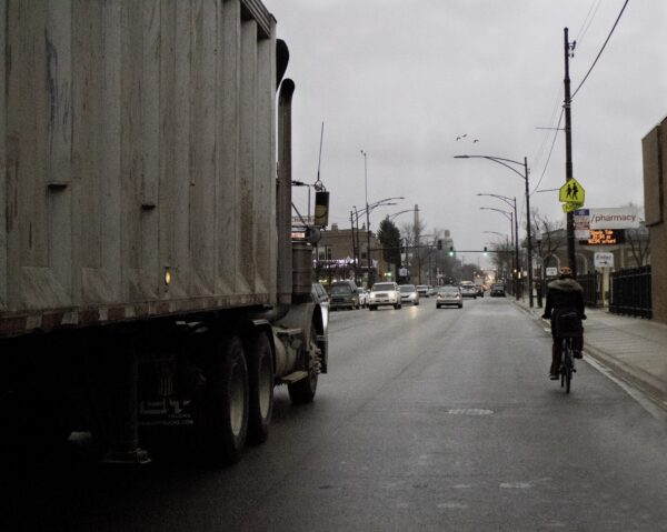 2019: Living in an industrial corridor means sharing the road with trucks every day in La Villita.