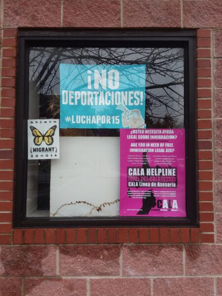 2018: Im/Migration posters in La Villita are a reminder of rights and policing realities.