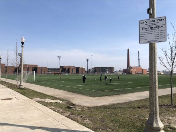2019: Cook County Jail alongside La Villita Park, a reminder of spatial inequality and policing.
