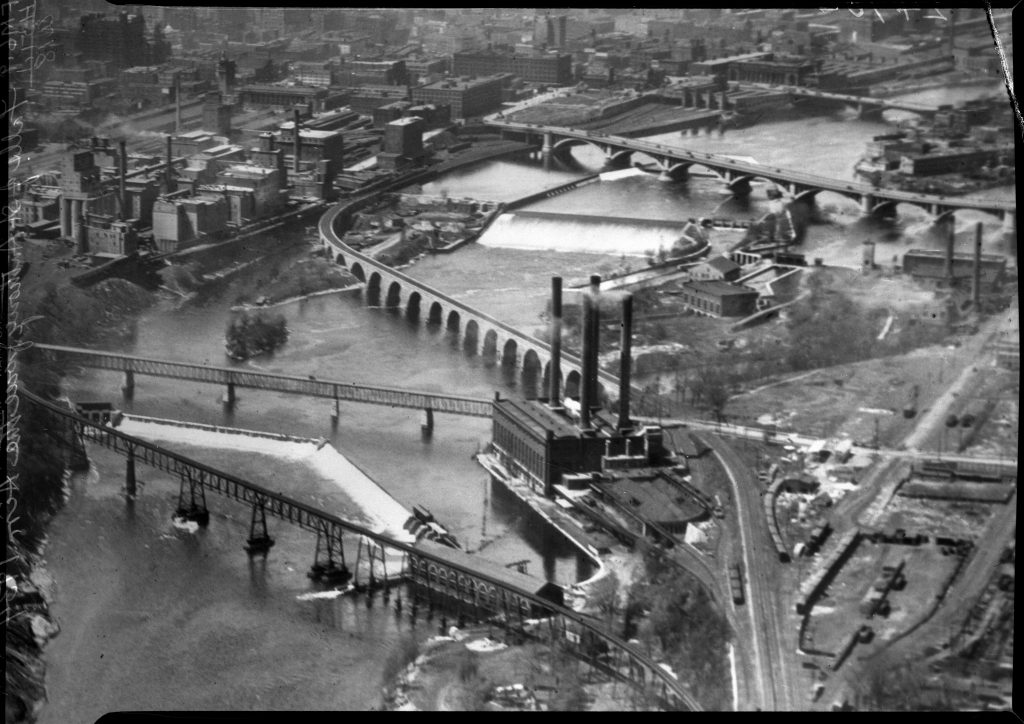 1934: Aerial View of post-dam construction at Saint Anthony Falls.
