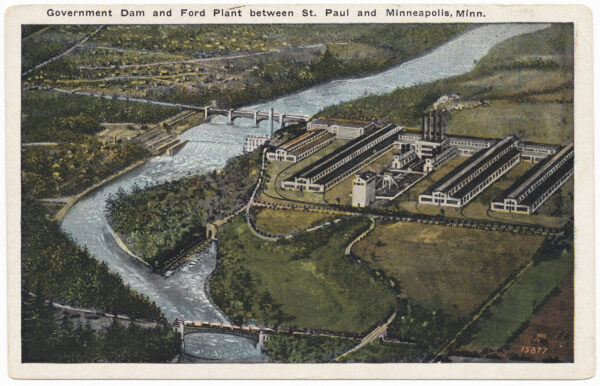 An artistic depiction of the Ford Plant and surrounding undeveloped rural land.