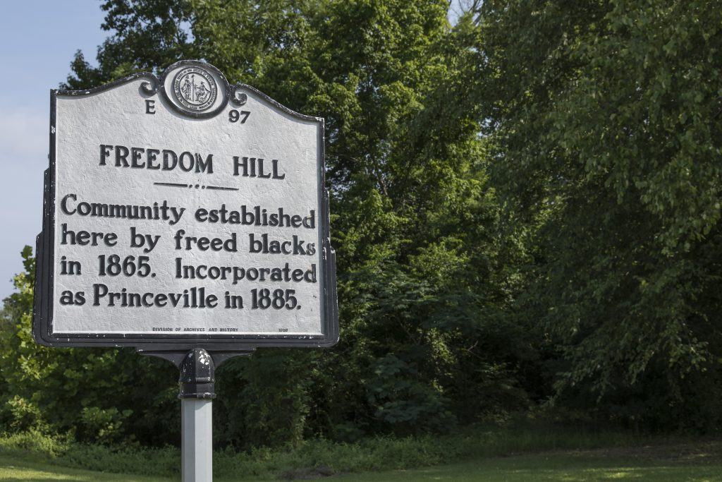 2017: North Carolina Historical Marker in Freedom Hill, North Carolina Department of Cultural Resources.