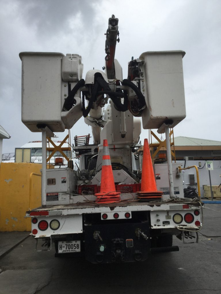 Power truck on Culebra on the day that the last generator was unhooked, March 20, 2019.