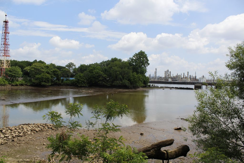 Mouth of Mingo Creek with main refinery complex in the distance.