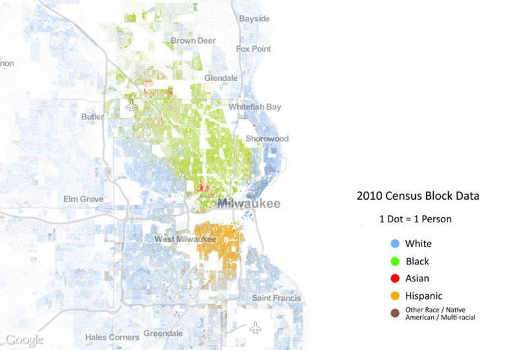 "A ""Racial Dot Map"" based on census data from 2010 shows a segregated city."