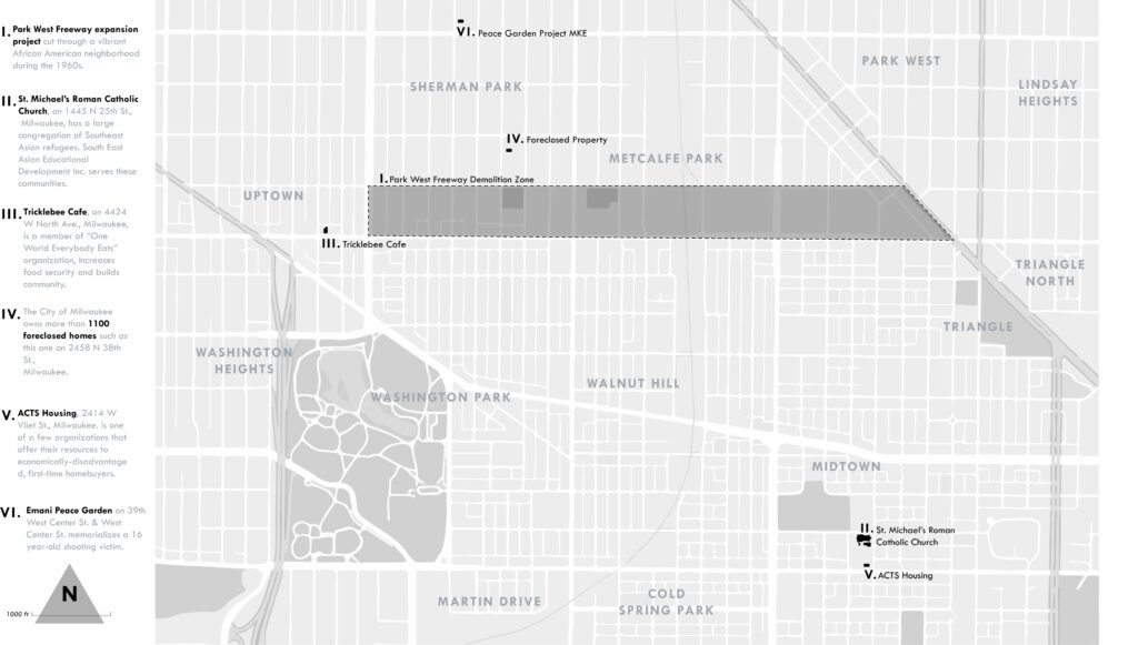 "Index map locating sites of 6 stories describing how residents ""take back their world"" in Milwaukee's Northside neighborhoods."