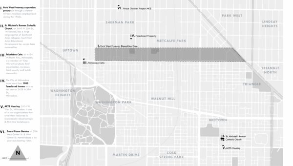 """Index map locating sites of 6 stories describing how residents """"take back their world"""" in Milwaukee's Northside neighborhoods."""